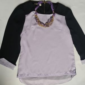 Blouse color purple and black